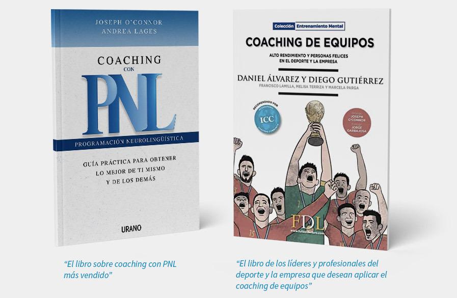 """Portadas de los libros """"Coaching con PNL"""" de Joseph O'Connor y """"Coaching de Equipos"""" de Daniel Álvarez Lamas"""